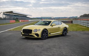 Picture continental, bentley, yellow, speed, racing, 2021