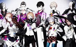 Picture flowers, girls, anime, mask, glasses, guys, characters, Caligula