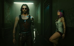 Picture girl, game, street, Night city, Cyborg, Cyberpunk, 2077, Johnny Silverhand