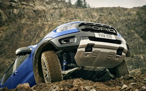 Picture blue, Ford, protection, Raptor, pickup, 2018, Ranger, levers