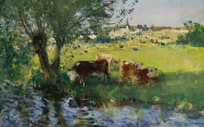 Picture landscape, picture, Pierre Eugène Montesin, Pierre-Eugene Montezin, Cows in the shade of the Willow