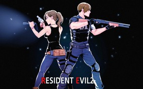Picture girl, weapons, guy, Resident Evil 2, 2019