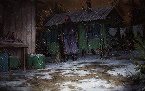 Picture Winter, Night, Snow, Cats, Grandma, Fantasy, Horror, Cat, Illustration, Horror, Creepy, Environments, Stefan Koidl, by …