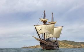 Picture rocks, shore, ship, sailboat