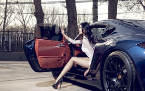 Picture auto, look, Girls, Porsche, Asian, beautiful girl, posing in the car