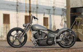 Picture Harley-Davidson, Gray, Custom, Softail, Motorcycle, Thunderbike, Thunderbike customs