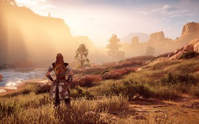 Picture the sun, river, rocks, exclusive, Playstation 4, Guerrilla Games, Horizon Zero Dawn, Eloy