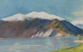 Picture landscape, picture, One thousand eight hundred ninety, Lesser URY, Lesser Ury, Lake Garda and Monte …