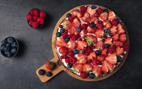 Picture berries, raspberry, background, strawberry, dessert, blueberries
