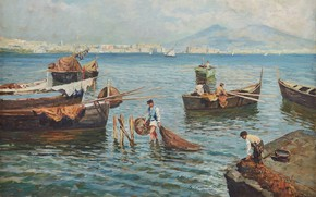 Picture French painter, French painter, oil on canvas, The view of Naples and Vesuvius, View of …