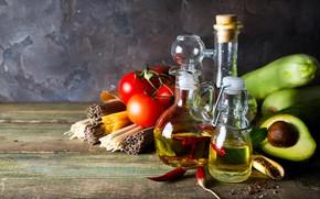 Picture oil, pepper, tomatoes, avocado, pasta, zucchini