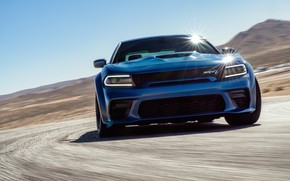 Picture Road, Speed, Dodge, Lights, Charger, Hellcat, SRT, 2020, Dodge Charger SRT, Hellcat widebody