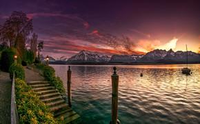Picture landscape, sunset, mountains, nature, lake, shore, Switzerland, lights, ladder, promenade, Lake Thun, Thunersee