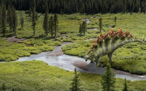 Picture forest, river, rendering, dinosaur, monster, the view from the top, digital art