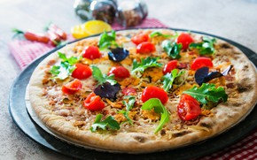 Picture tomatoes, Basil, pizza, cheese, food