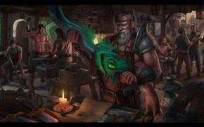 Picture magic, sword, fantasy, art, workshop, Blacksmith, Eugene Rudakov, smithy