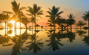 Picture sea, sunset, palm trees, stay, pool, Bali, pair, the hotel, Ayodya Resort Bali