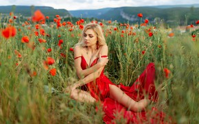 Picture flowers, Girl, dress, shoulders, Vitaly Kitaev, Julia Beeskow
