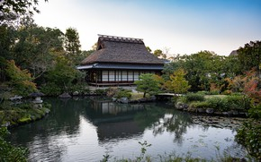 Picture Nature, Japan, Garden, House, Pond