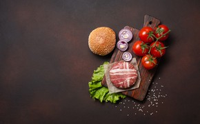 Picture bow, meat, Board, tomatoes, hamburger, bun