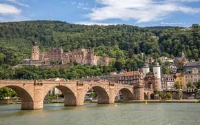 Picture bridge, river, castle, Germany, Heidelberg, Heidelberg