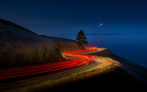 Picture lights, road, night, mountain