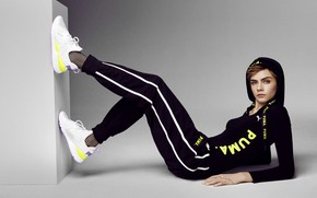Picture style, model, Cara Delevingne, actress, tracksuit
