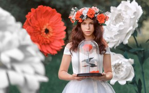 Picture look, girl, flowers, pose, roses, dress, brown hair, wreath, bokeh, Renat Fotov