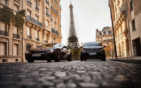 Picture France, Paris, BMW, pair, Eiffel tower, Coupe, BMW i3, BMW i8, 2019, Ultimate Sophisto Edition, …