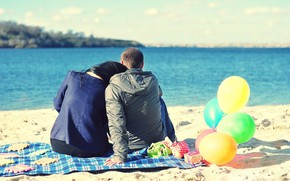 Picture girl, balls, river, shore, pair, male, lovers