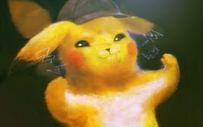 Picture lightning, mouse, Pokemon, Pikachu, detective