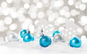 Picture snow, snowflakes, balls, New Year, Christmas, Christmas, balls, blue, snow, New Year, snowflakes, decoration, Merry