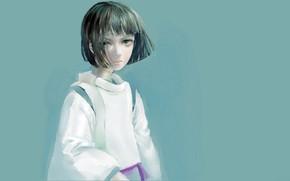 Picture haircut, boy, blue background, green eyes, bangs, Haku, Spirited Away, Spirited away