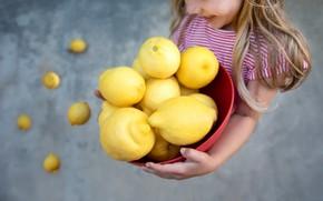 Picture girl, fruit, lemons