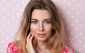 Picture look, close-up, face, background, model, portrait, makeup, hairstyle, brown hair, beauty, Maxim Romanov