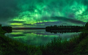 Picture summer, the sky, trees, night, lake, Northern lights
