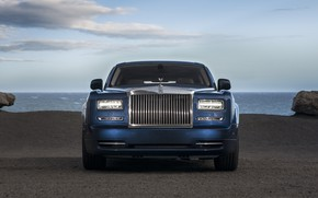 Picture Phantom, Rolls Royce, Blue, Front, Face, Luxury, Sight