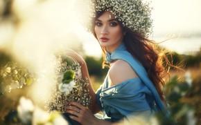 Picture girl, hair, beautiful, wreath, Jeanne, Magizova RESEDA