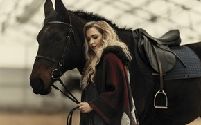 Picture girl, pose, photo, model, hair, horse, beautiful, Janis Balcuns