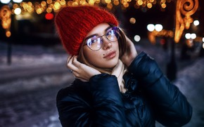 Picture winter, look, model, hat, Girl, glasses, Sergey Sorokin, Luba Ivanova