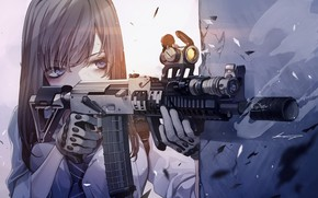 Picture girl, weapons, sight, rifle