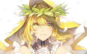 Picture face, chain, hood, wreath, green eyes, bangs, Fate / Extra, Gingerbread