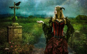 Picture girl, cross, crow, photoart