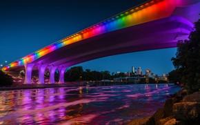 Picture bridge, river, USA, Minneapolis, Mississippi