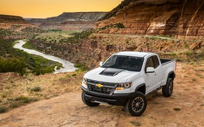 Picture river, rocks, view, Chevrolet, Colorado, Extended Cab, ZR2
