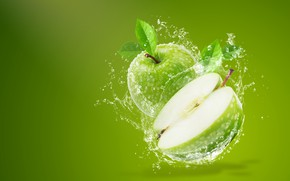 Picture water, squirt, background, apples, splash, green