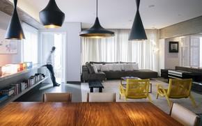 Picture design, interior, living room, dining room, Maranhão Apartment, by Fc Studio
