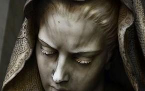 Picture Sculpture, woman, cemetery, antique