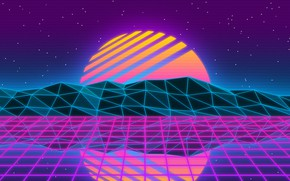 Picture The sun, Reflection, Music, Star, Style, Background, 80s, Style, Neon, Illustration, 80's, Synth, Retrowave, Synthwave, …
