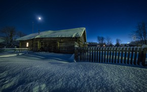 Picture winter, snow, landscape, night, nature, the fence, home, Perm Krai, Andrei, the village of Grigoryevskaya
